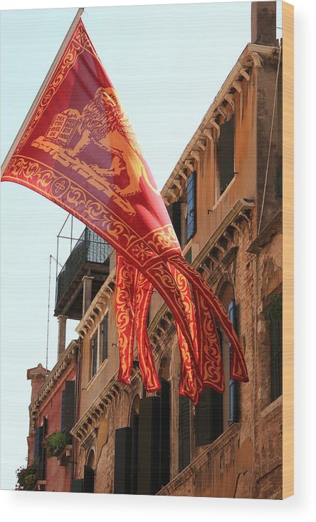 Venice Wood Print featuring the photograph The Flag Of Venice by Michael Henderson