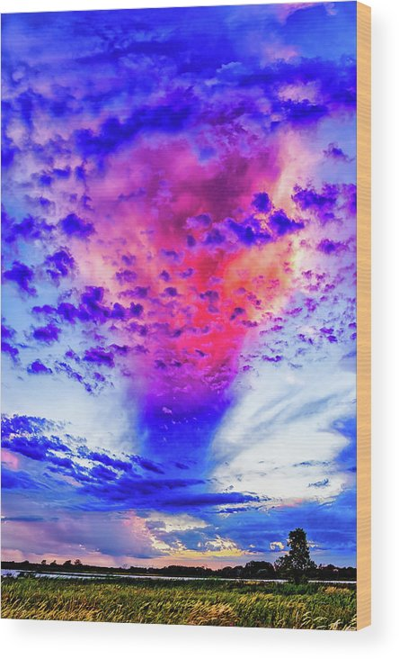 Landscape Wood Print featuring the photograph Big Clouds 2 by Jeff Berry