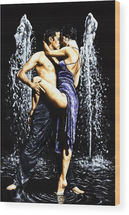 Tango Wood Print featuring the painting The Fountain Of Tango by Richard Young