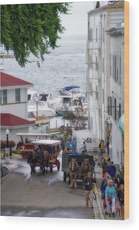 Mackinac Wood Print featuring the photograph The Horses Of Mackinac Island Michigan Vertical 02 by Thomas Woolworth