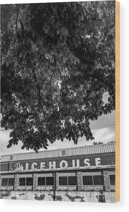 America Wood Print featuring the photograph The Icehouse - Black And White - Bentonville Market District by Gregory Ballos