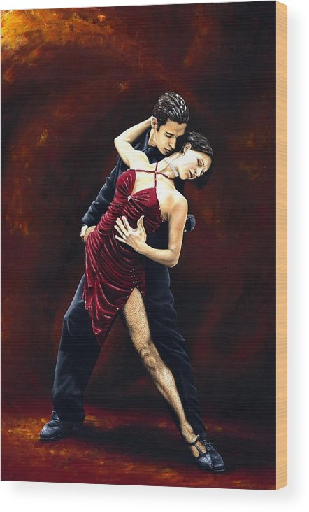 Tango Wood Print featuring the painting The Passion Of Tango by Richard Young