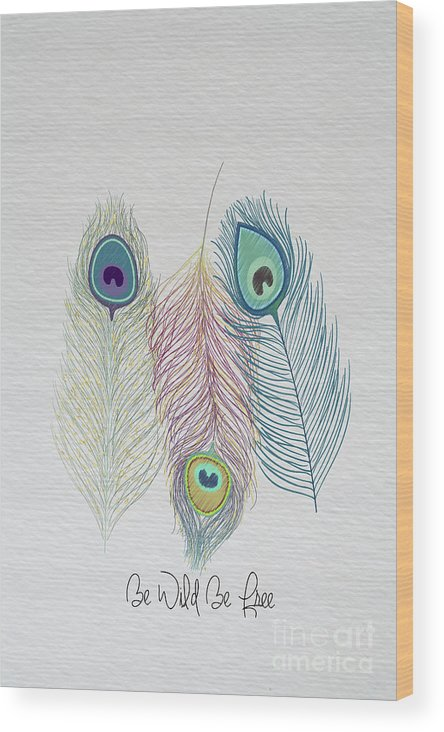 Peacock Wood Print featuring the photograph The Power Of Three Be Wild Be Free by Nikki Vig