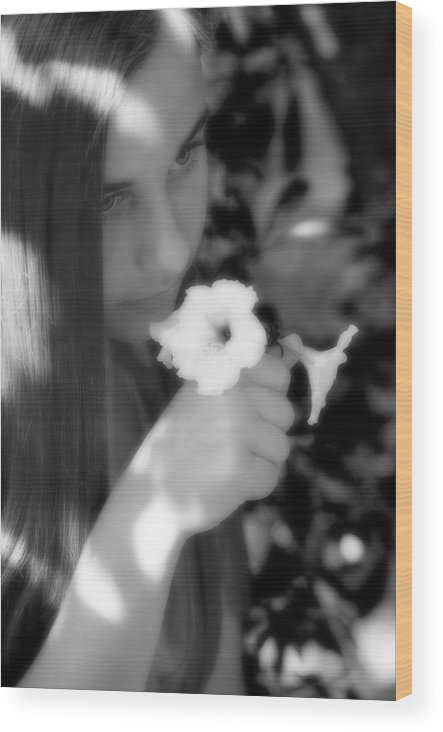 Girl Wood Print featuring the photograph The Scent by Steve Parrott