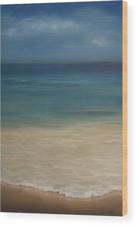 Sea Wood Print featuring the painting 'the Shore'' by Marina Harris