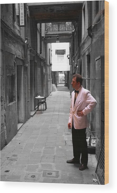 Venice Wood Print featuring the photograph The Smoking Man In Venice by Greg Sharpe