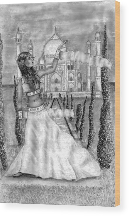 Taj Mahal Wood Print featuring the drawing The View by Scarlett Royal