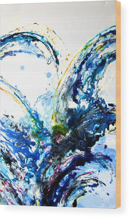 Abstract Wood Print featuring the painting The Wave 2 by Roberto Gagliardi