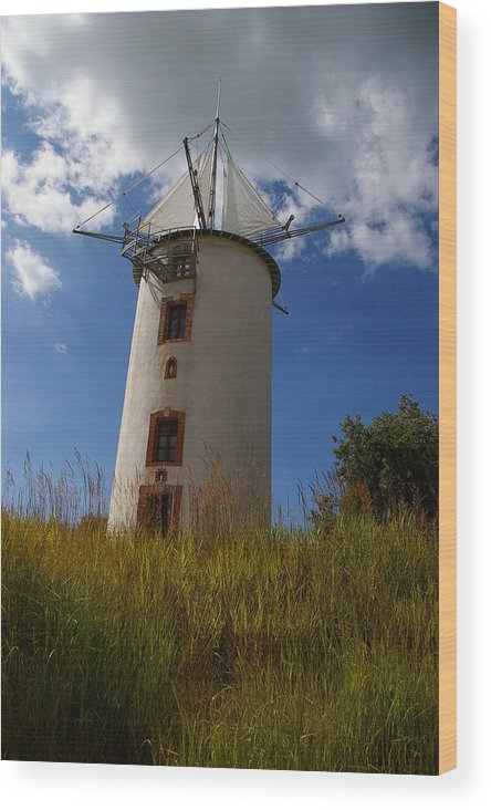 Landscape Wood Print featuring the photograph The Windmill by Veron Miller