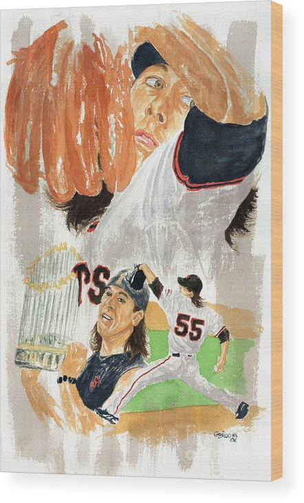 Baseball Wood Print featuring the painting Tim Lincecum Study 3 by George Brooks