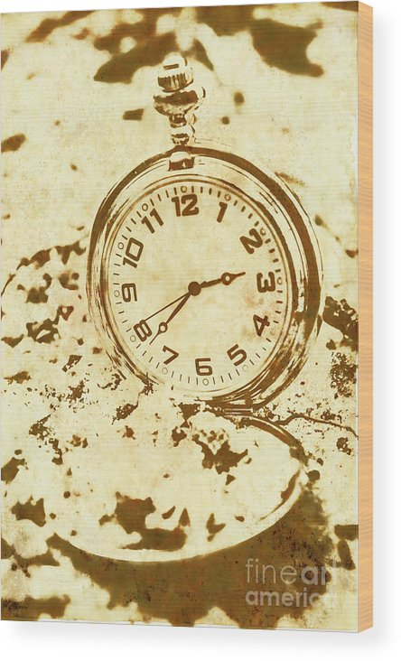 Vintage Wood Print featuring the photograph Time Worn Vintage Pocket Watch by Jorgo Photography - Wall Art Gallery