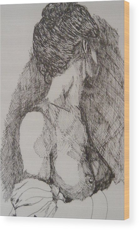 Female Form Wood Print featuring the drawing Tranquility by Donald Dean