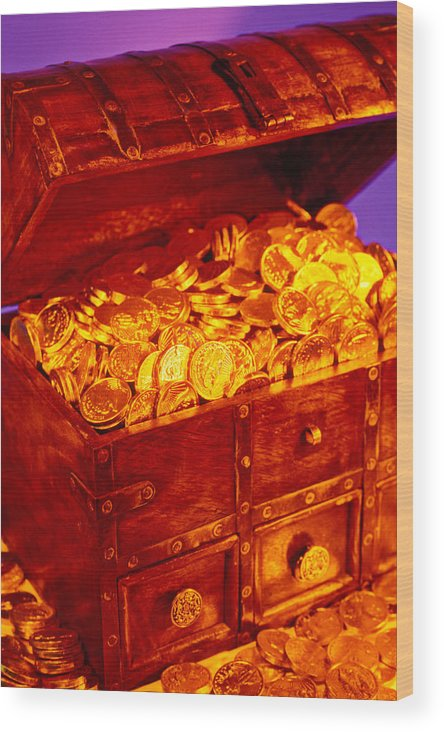 Treasure Chest Gold Coins Pirates Wood Print featuring the photograph Treasure Chest With Gold Coins by Garry Gay