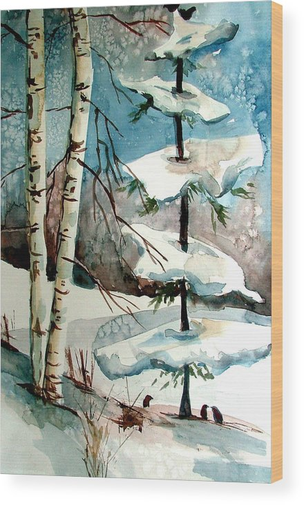 Winter Wood Print featuring the painting Tree Talkers by Mindy Newman