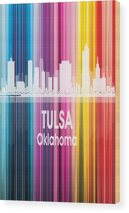 Tulsa Wood Print featuring the digital art Tulsa Ok 2 Vertical by Angelina Tamez