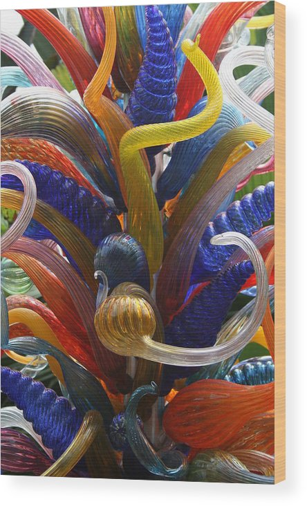 Glass Artwork Wood Print featuring the photograph Twisted Colours by Allan E Dooley Jr