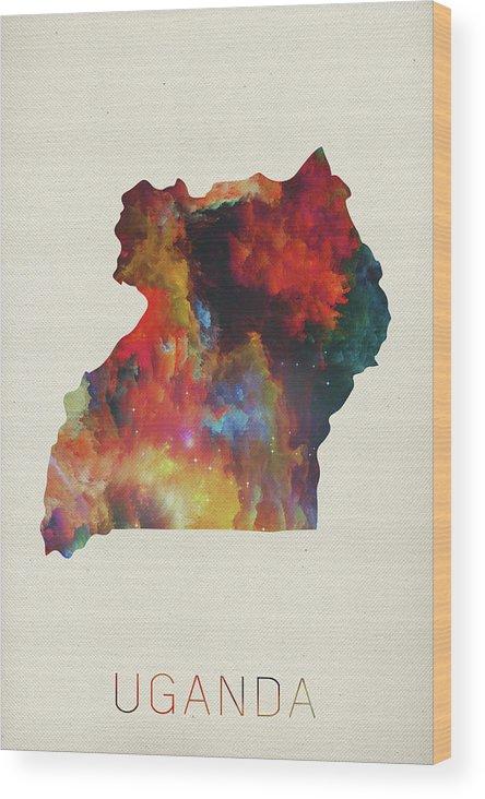Uganda Wood Print featuring the mixed media Uganda Watercolor Map by Design Turnpike