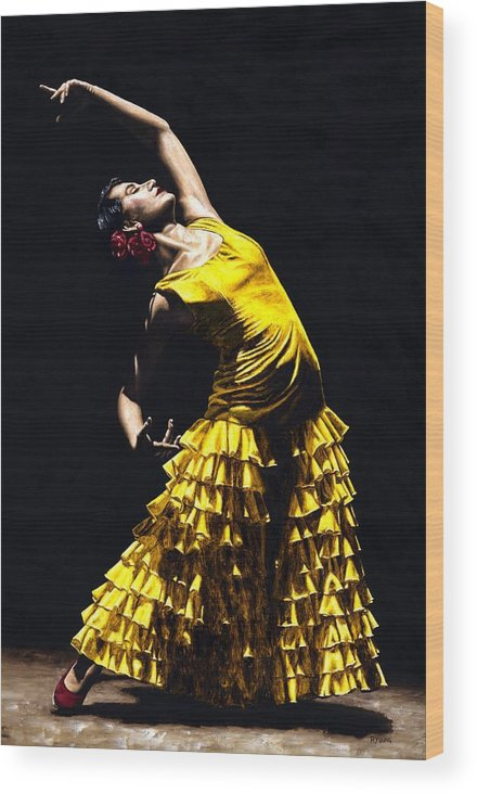 Flamenco Wood Print featuring the painting Un Momento Intenso Del Flamenco by Richard Young