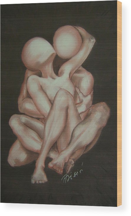 Nudes Wood Print featuring the painting Under Your Wing Forever by Meliha Bisic