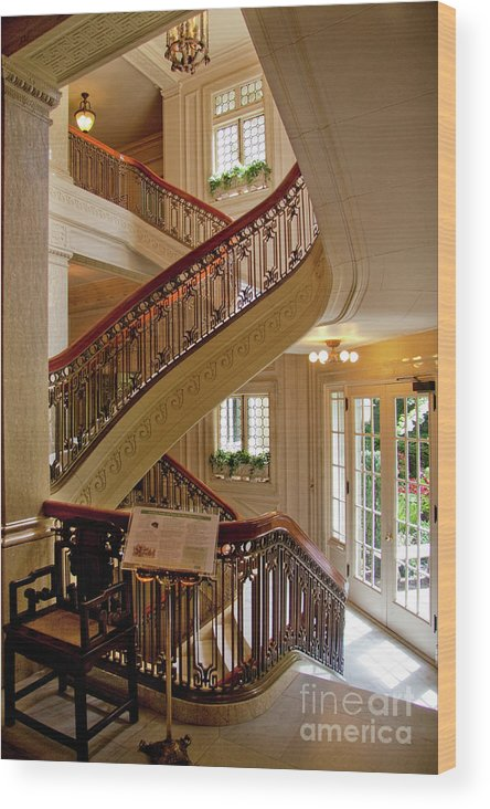 Pittock Mansion Wood Print Featuring The Photograph Up The Down Staircase  Pittock Mansion Portland Oregon By