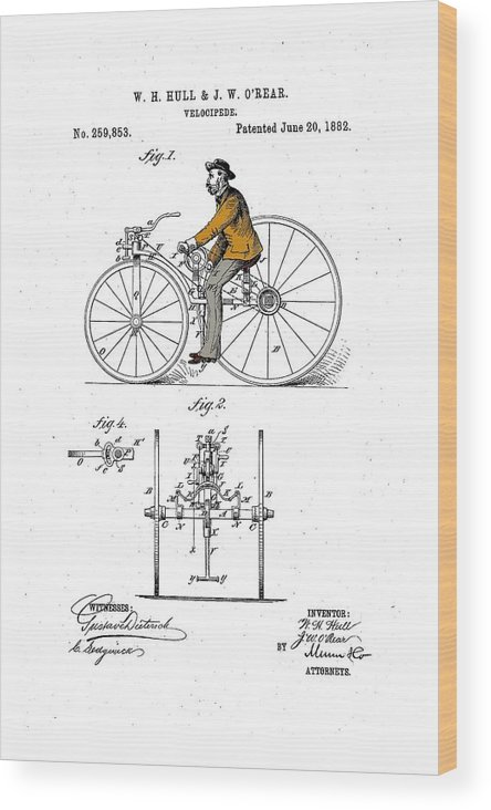 Bicycle Wood Print featuring the drawing Velocipede 1882 by Ray Walsh