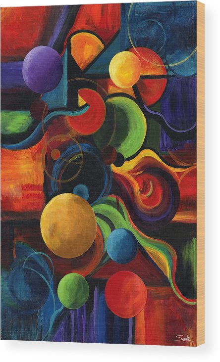 Synergy Wood Print featuring the painting Vertical Synergy by Laura Swink