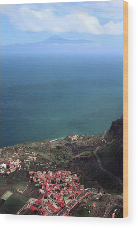 La Gomera Wood Print featuring the digital art View Of Teide From La Gomera by Cambion Art