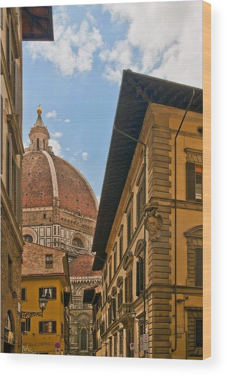 Florence Wood Print featuring the photograph View Of The Duomo by Mick Burkey