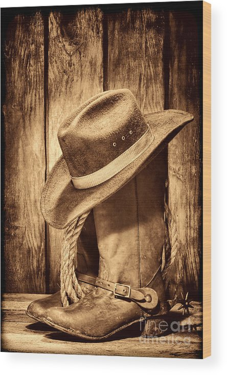 Cowboy Wood Print featuring the photograph Vintage Cowboy Boots by American West Legend By Olivier Le Queinec