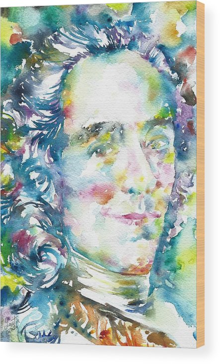Voltaire Wood Print featuring the painting Voltaire - Watercolor Portrait by Fabrizio Cassetta