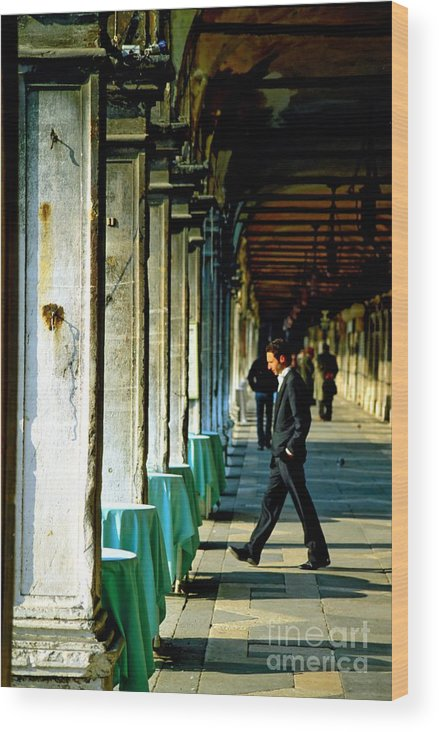 San Marco Wood Print featuring the photograph Waiter Walking At San Marco In Venice by Michael Henderson