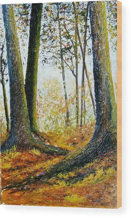 Landscape Wood Print featuring the painting Walk In The Woods by Tami Booher