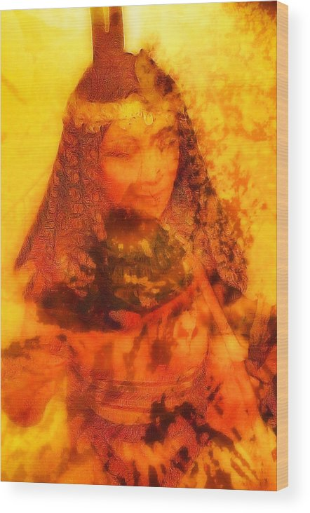 Female Abstract Portrait Wood Print featuring the digital art Warrioress 3 by Devalyn Marshall