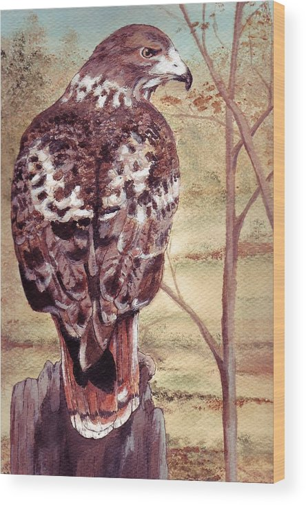 Red-tail Wood Print featuring the painting Watch Hawk by Debra Sandstrom