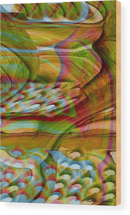 Abstracts Wood Print featuring the digital art Waves And Patterns by Linda Sannuti