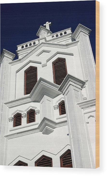 Church Wood Print featuring the photograph White Church by Mary Haber