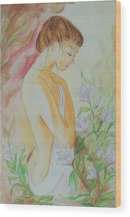 Lillies After The Bath Wood Print featuring the painting White Lillies by Irenemaria Amoroso