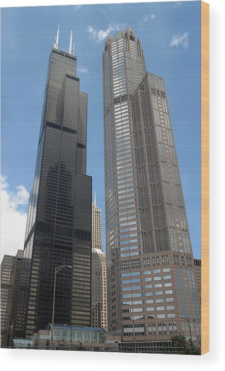 3scape Wood Print featuring the photograph Willis Tower Aka Sears Tower And 311 South Wacker Drive by Adam Romanowicz