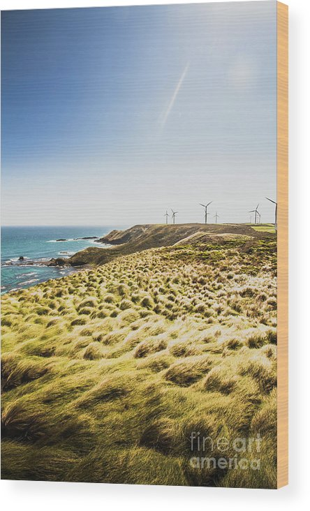 Ocean Wood Print featuring the photograph Windy Meadows by Jorgo Photography - Wall Art Gallery
