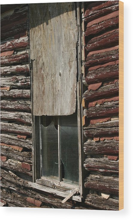 Wood Print featuring the photograph Winslow Cabin Window by Curtis J Neeley Jr