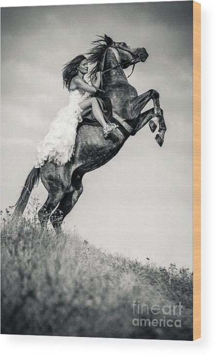 Horse Wood Print featuring the photograph Woman In Dress Riding Chestnut Black Rearing Stallion by Dimitar Hristov