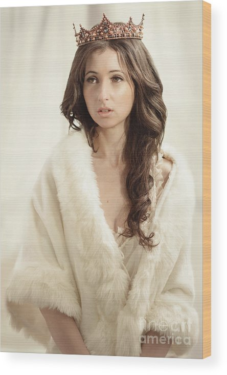 Negligee Wood Print featuring the photograph Woman In Fur Wrap Wearing Crown by Amanda Elwell