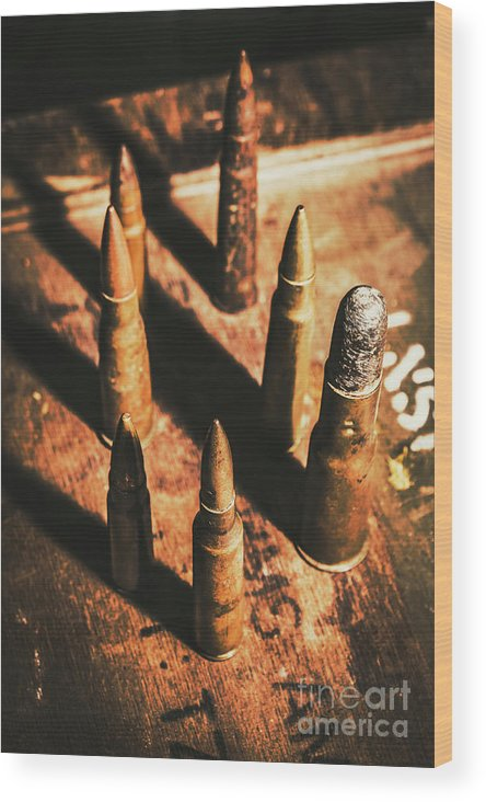 Military Wood Print featuring the photograph World War II Ammunition by Jorgo Photography - Wall Art Gallery