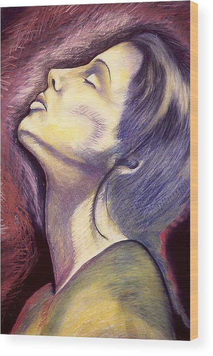 Woman In Silent Worship Wood Print featuring the drawing Worshiper by Carrie Maurer