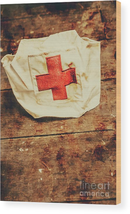 Vintage Wood Print featuring the photograph Ww2 Nurse Hat. Army Medical Corps by Jorgo Photography - Wall Art Gallery