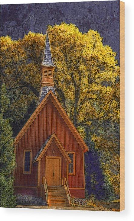 Yosemite Wood Print featuring the photograph Yosemite Chapel by Floyd Hopper