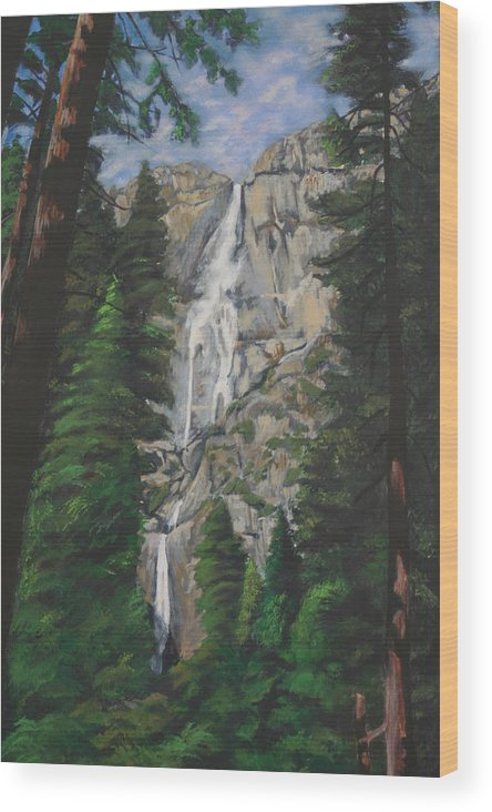 Landscape Wood Print featuring the painting Yosemite Falls by Travis Day