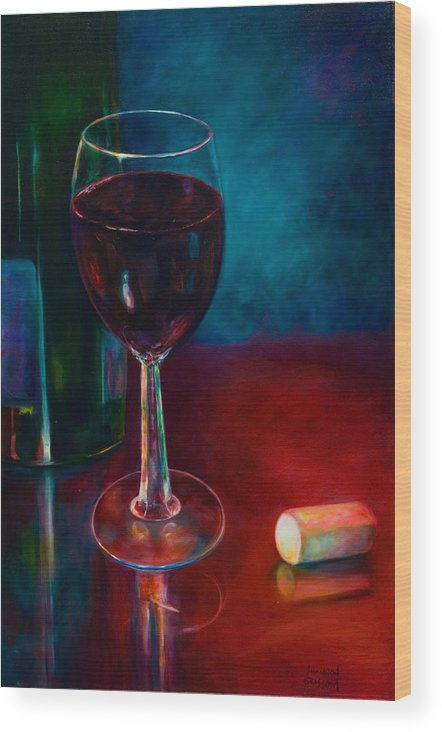 Wine Bottle Wood Print featuring the painting Zinfandel by Shannon Grissom