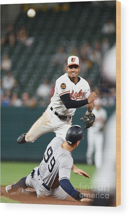 People Wood Print featuring the photograph New York Yankees V Baltimore Orioles 1 by Greg Fiume