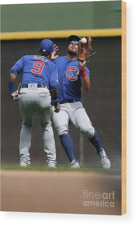 People Wood Print featuring the photograph Chicago Cubs V Milwaukee Brewers 19 by Dylan Buell